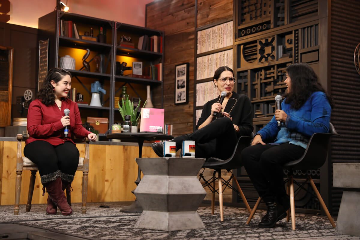 Moderator Monica Castillo, director Desiree Akhavan and director Nisha Ganatra at the Cinema Café with Desiree Akhavan and Nisha Ganatra at the 2019 Sundance Film Festival. © 2019 Sundance Institute | photo by Kelly Mason.   All photos are copyrighted and may be used by press only for the purpose of news or editorial coverage of Sundance Institute programs. Photos must be accompanied by a credit to the photographer and/or 'Courtesy of Sundance Institute.' Unauthorized use, alteration, reproduction or sale of logos and/or photos is strictly prohibited.